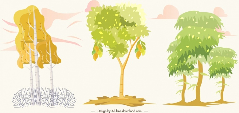 natural tree icons bright colored sketch
