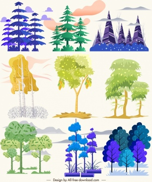 natural trees icons collection colorful sketch