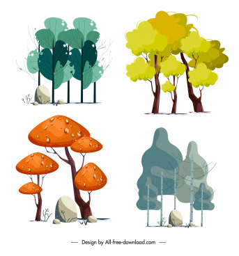 natural trees icons colored handdrawn sketch