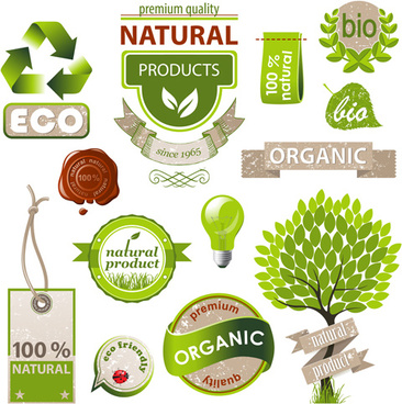 natural with eco labels and tags vector