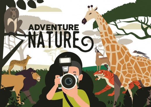 nature adventure background tourist wild animals icons decor