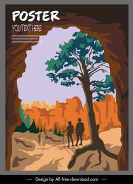 nature adventure poster mountain scene sketch classic design