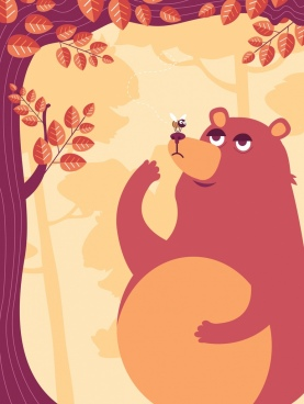 nature background bear bee tree icons classical decor