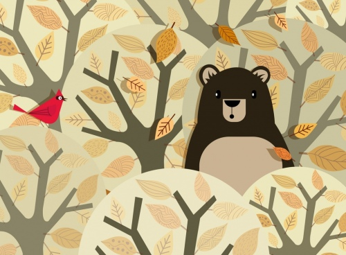 nature background bear bird leaves trees decor