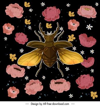 nature background beetle petals sketch colorful dark design