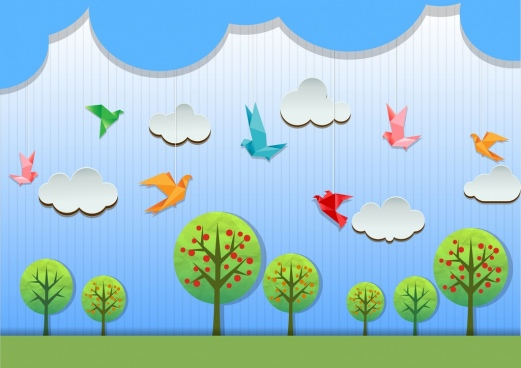 nature background bird cloud tree icons paper cut