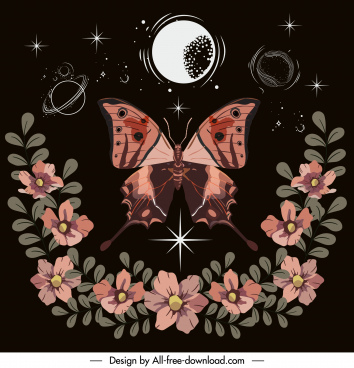 nature background butterfly botany decor dark colored design
