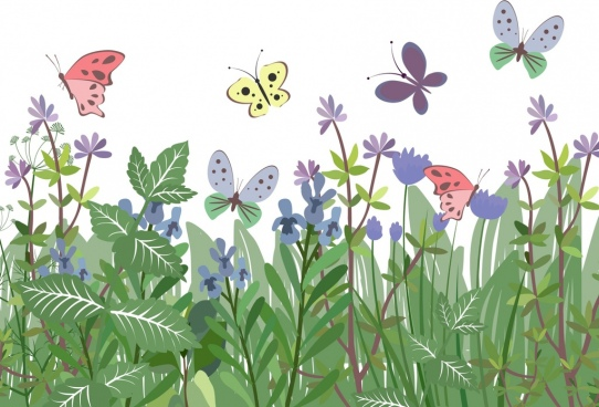 nature background colorful butterflies green plants icons
