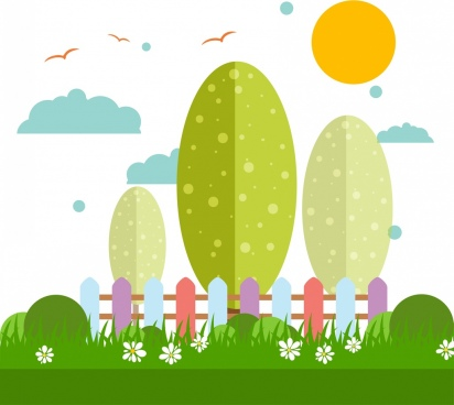 nature background colorful cartoon style tree grass icons