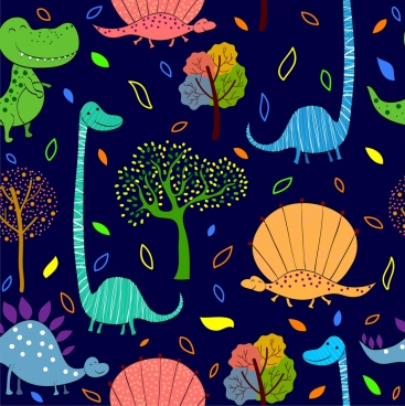nature background colorful design repeating dinosaur icons
