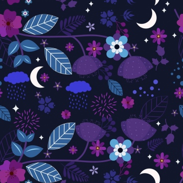 nature background crescent flower icons pattern dark violet