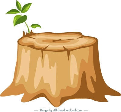 nature background cut stump icon colored design