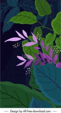 nature background dark retro design leaves sketch