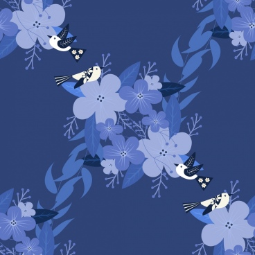 nature background flowers birds decor violet design