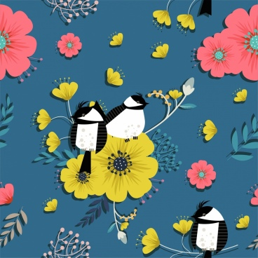 nature background flowers birds icons decor colorful design