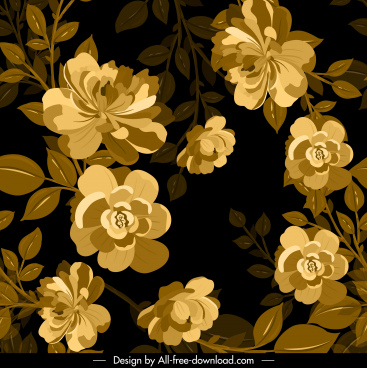 nature background flowers sketch dark retro design