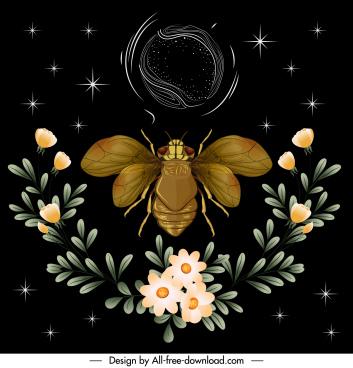 nature background fly botany decor dark colorful design