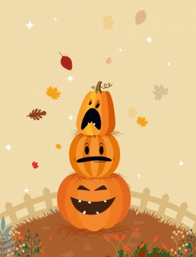 nature background funny stylized pumpkin icons falling leaves