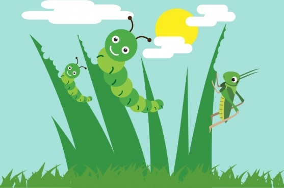 nature background grass worm grasshopper icons decoration