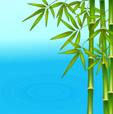 nature background green bamboo blue water surface icons