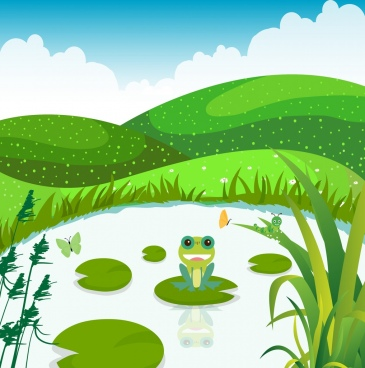 nature background green decor grass pond frog icon