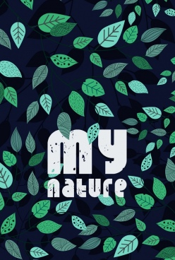 nature background green leaves icons decoration