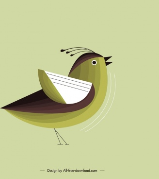 nature background green sparrow icon classical flat design
