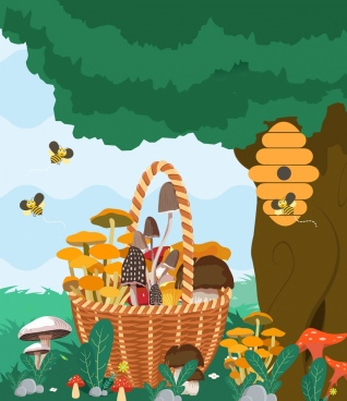 nature background honey bees mushroom basket icons decor