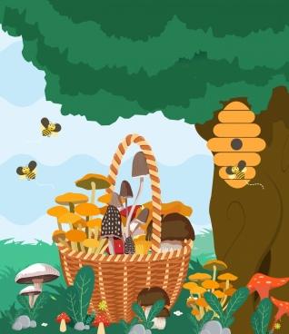 nature background honey bees mushroom basket icons decor