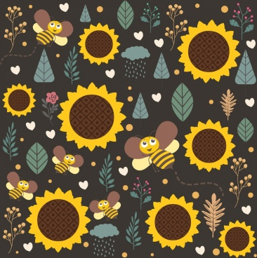 nature background honeybee sunflower leaves icons repeating decor