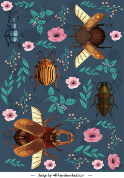 nature background insects floras decor colorful classic design