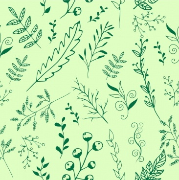nature background leaves grass icons repeating style sketch