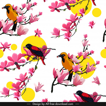 nature background oriental design flowers birds decor
