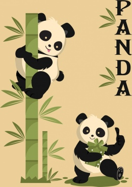 nature background panda green bamboo icons decor