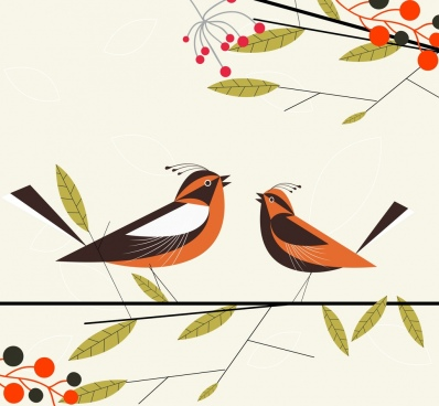 nature background perching birds leaves branches icons