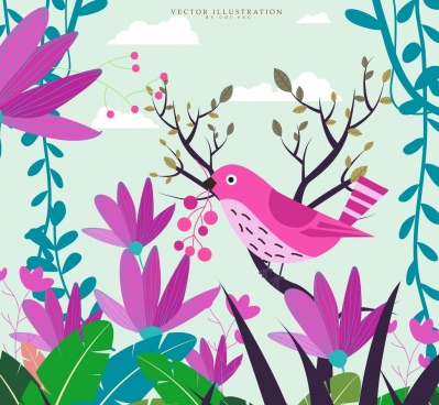 nature background pink bird colorful plants decoration