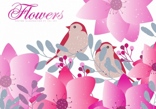 nature background pink flowers birds cartoon design