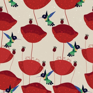 nature background red flower bird icons pattern