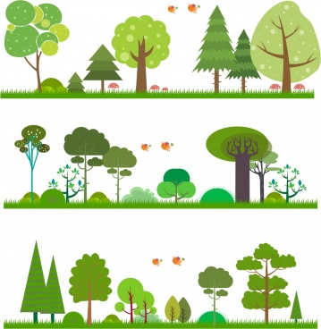 nature background sets green trees decoration cartoon design