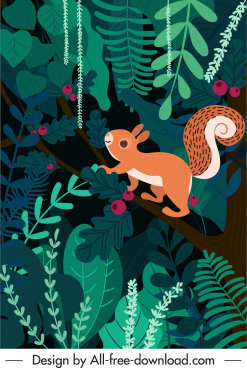 nature background squirrel jungle sketch colorful flat design