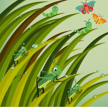 nature background stylized grasshopper worm butterfly icons