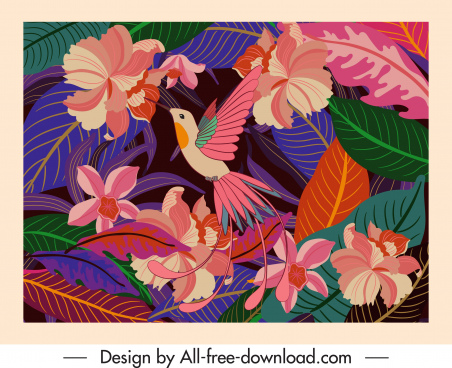 nature background template bird floras decor classical design