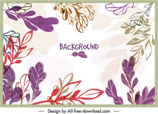 nature background template bright handdrawn retro leaves decor