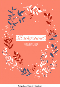 nature background template classical handdrawn leaf floral decor