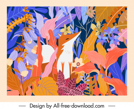 nature background template fox leaves sketch classic design