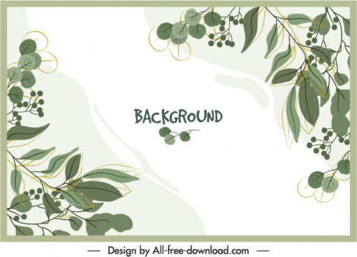 nature background template handdrawn classic leaves decor