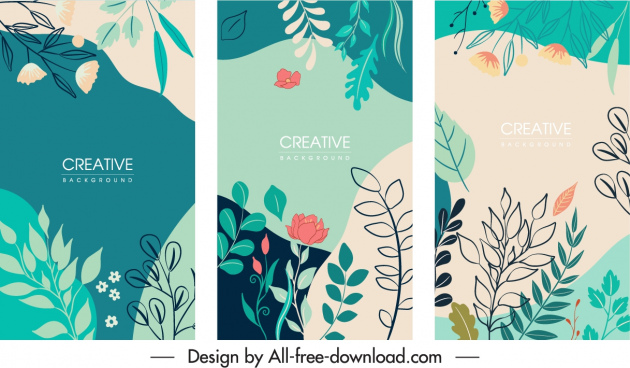 nature background templates colorful classic handdrawn leaf sketch