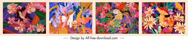 nature background templates colorful classical plants animals decor