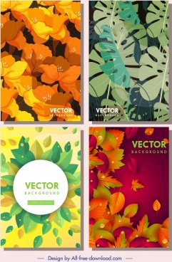 nature background templates colorful flower leaves decor