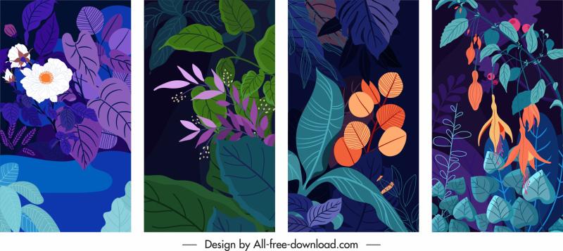 nature background templates dark design classic plant decor